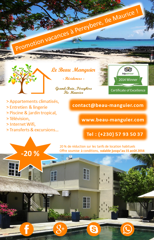 Promotion vacances a Pereybere, Ile Maurice